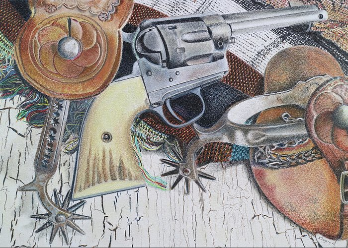 Gun Greeting Card featuring the drawing Revolver With Spurs by Scott Kingery