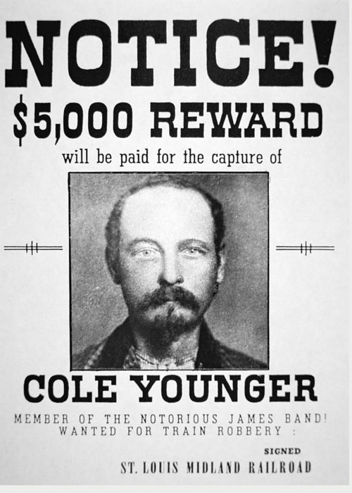 Confederate; Outlaw; James Younger Gang; Member; Mugshot; Criminal; Western; Wild West; Old West; Portrait; Male; Typography Greeting Card featuring the painting Reward Poster For Thomas Cole Younger by American School