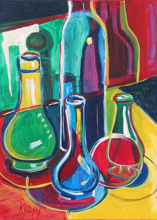 Still Life Greeting Card featuring the painting RGBY Still Life No. 2 by Rollin Kocsis