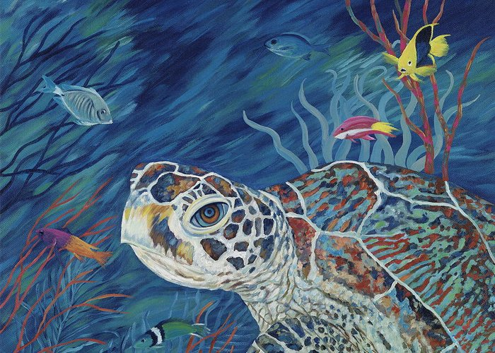 Green Sea Turtle Greeting Card featuring the painting Rhapsody In Blue by Danielle Perry