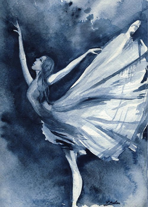 Ballet Greeting Card featuring the painting Rhapsody In Blue by L Lauter