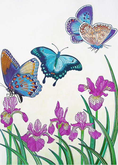 Butterflies Greeting Card featuring the painting Rhapsody In Blue by Vlasta Smola