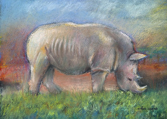 Rhino Greeting Card featuring the pastel Rhino by Arline Wagner