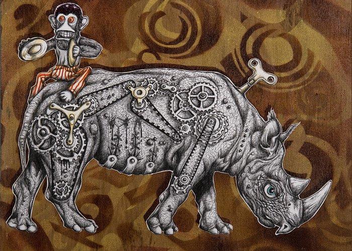 Rhino Greeting Card featuring the painting Rhino Mechanics by Tai Taeoalii