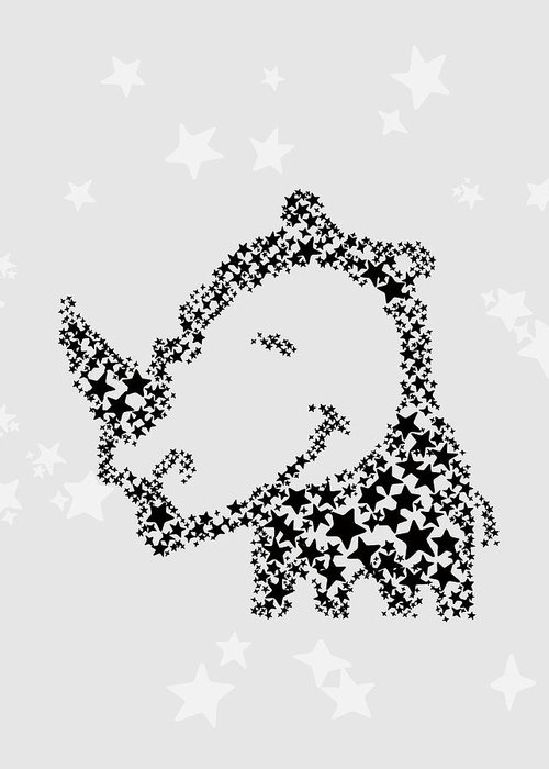 Animal Greeting Card featuring the digital art Rhinoceros Black Stars by Hieu Tran