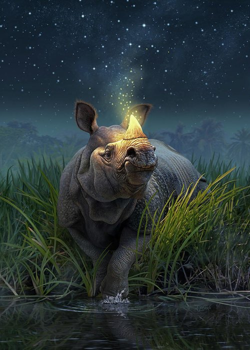 Indian Rhinoceros Greeting Cards