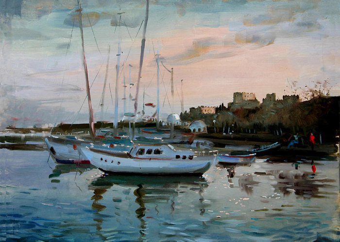 Rhodes Greece Greeting Card featuring the painting Rhodes Mandraki Harbour by Ylli Haruni