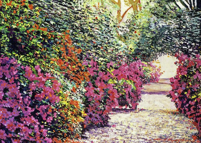 Featured Art Greeting Card featuring the painting Rhododendron Pathway Exeter Gardnes by David Lloyd Glover