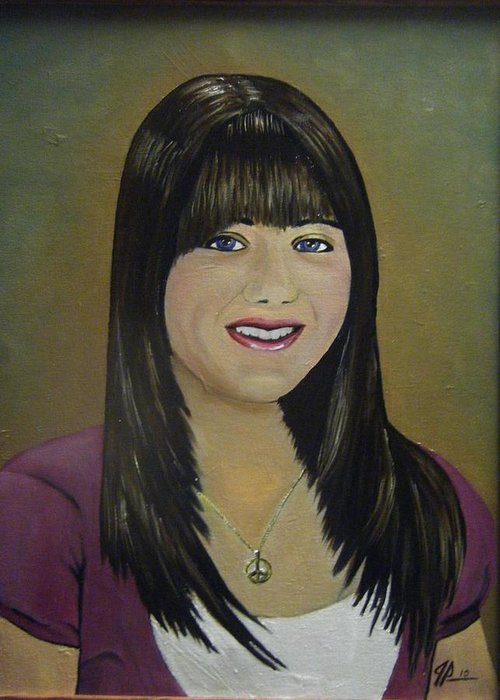 Portrait Greeting Card featuring the painting Rhonda's Daughter by Joseph Papale