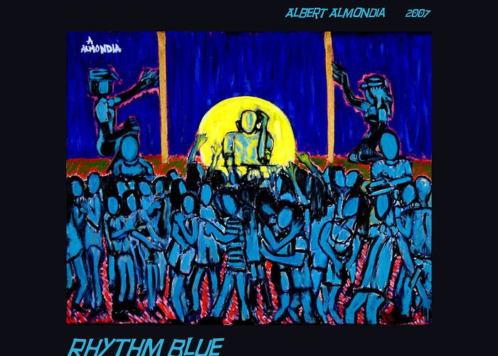Dancing Greeting Card featuring the painting Rhythm Blue by Albert Almondia
