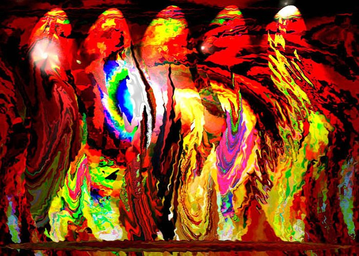 Fire Greeting Card featuring the digital art Rhythm Of The Dancing Fires by Beverly Kimble Davis