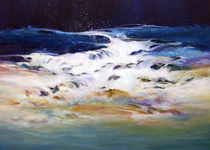 Acrylic Painting; Painting;water;ocean;rocks;transparent;surf;flowing Water;painting On Canvas; Greeting Card featuring the painting Rhythmic Flow by Lois Mountz