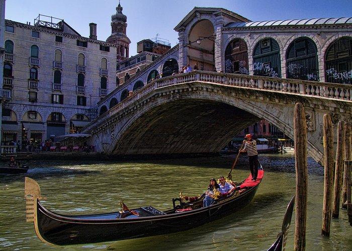 Gondola Greeting Card featuring the photograph Rialto Bridge In Venice Italy by David Smith
