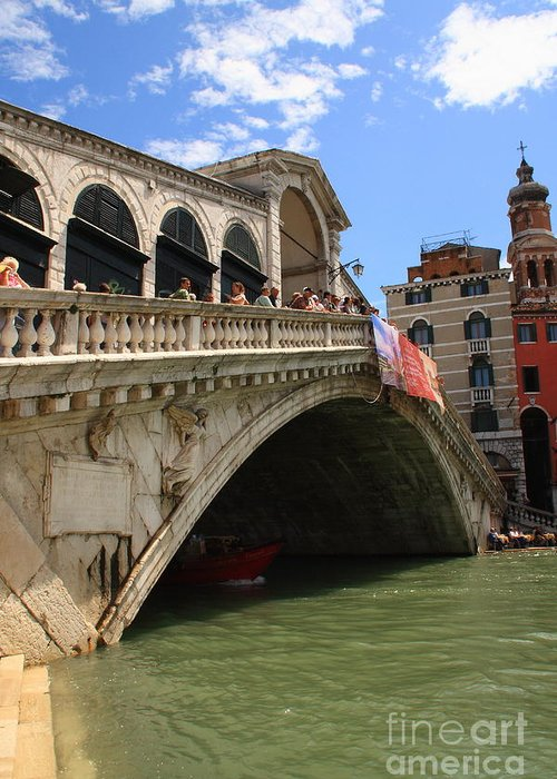 Venice Greeting Card featuring the photograph Rialto Bridge In Venice by Michael Henderson