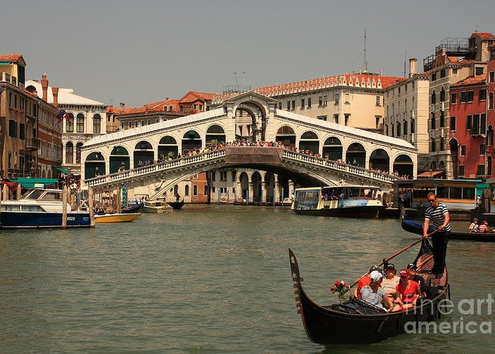 Venice Greeting Card featuring the photograph Rialto Bridge In Venice With Gondola by Michael Henderson