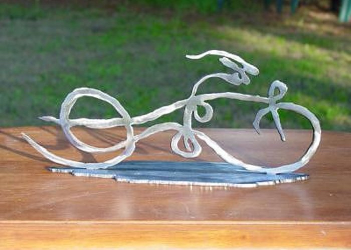 Ribbon Greeting Card featuring the sculpture Ribbon Bike by Steve Mudge