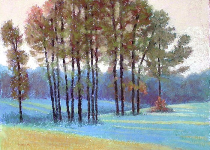 Early Evening Landscape Greeting Card featuring the painting Ribbons Of Light by Julie Mayser