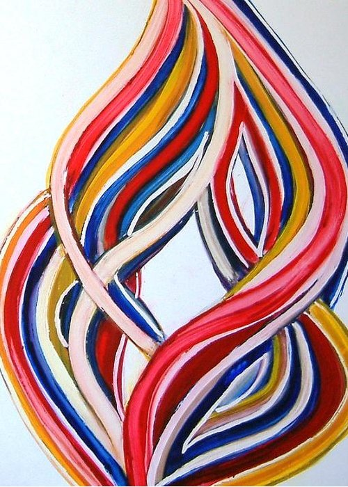 Abstract Modern Contemporary Pop Romantic Love Colourful Red Yellow Blue White Greeting Card featuring the painting Ribbons Of Love-multicolour by Manjiri Kanvinde