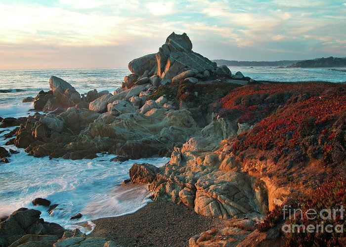 Nature Greeting Card featuring the photograph Ribera Beach Sunset Carmel California by Charlene Mitchell