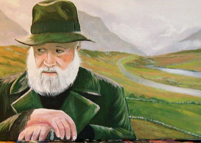 Irish Landscapes Paintings Ireland The Field Richard Harris Leenane Co Galway J.b Keane Greeting Card featuring the painting Richard Harris In The Film Called The Field by Cathal O malley