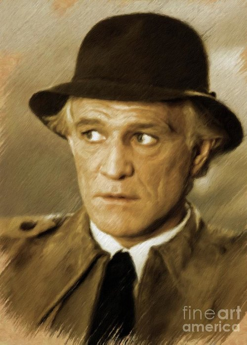 Richard Greeting Card featuring the painting Richard Harris, Vintage Actor by Mary Bassett