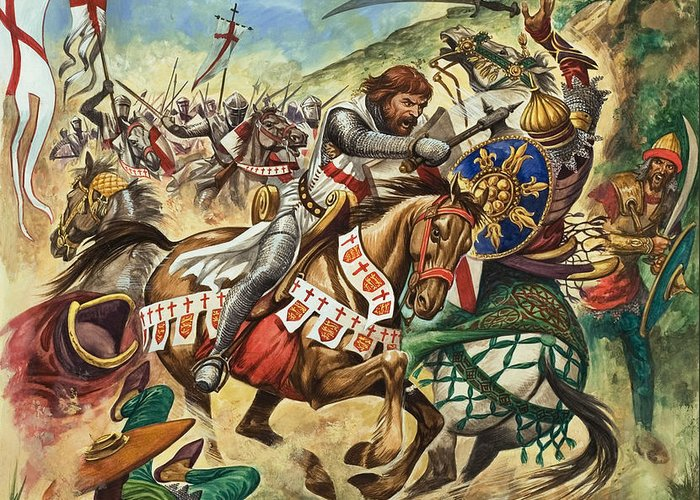Richard Greeting Card featuring the painting Richard The Lionheart During The Crusades by Peter Jackson