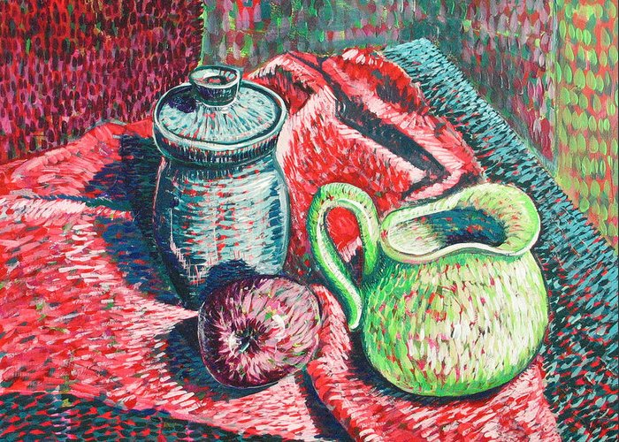 Still Life Greeting Card featuring the painting Richards Pitcher In Green by Rollin Kocsis