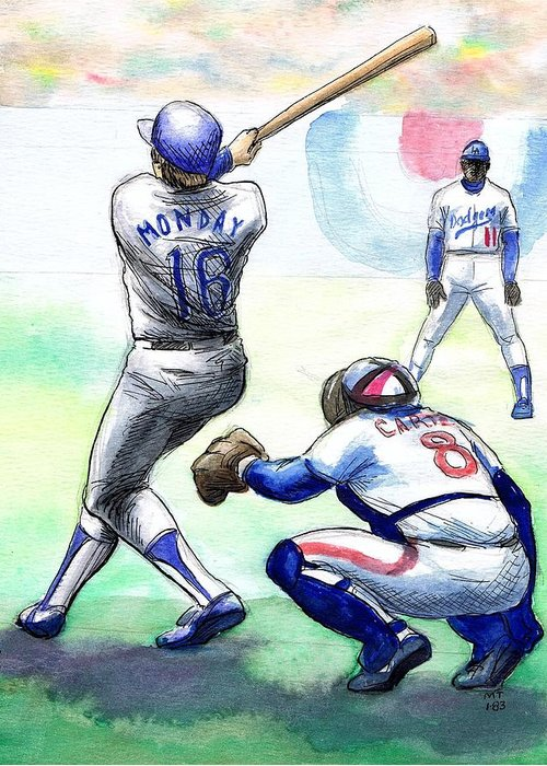Nostalgia Greeting Card featuring the drawing Rick Monday by Mel Thompson