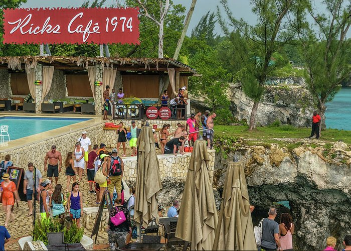 Ricks Cafe Negril Greeting Card featuring the photograph Rick's Cafe In Negril by Debbie Ann Powell