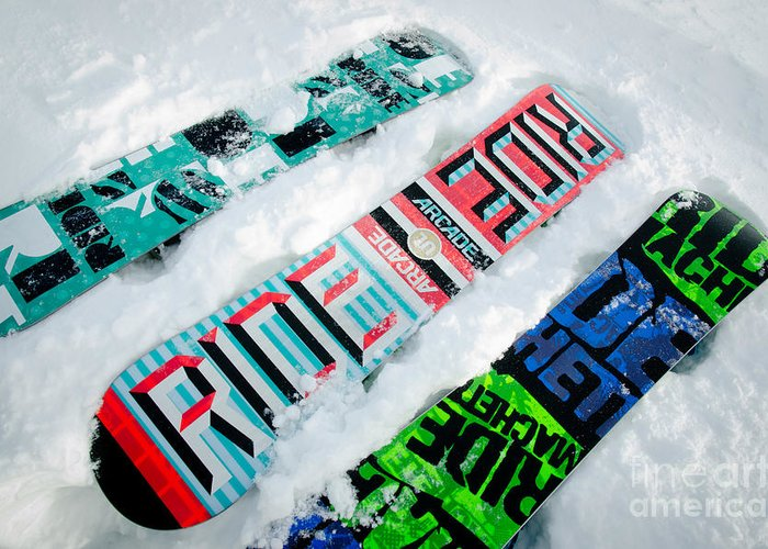 Snowboard Greeting Card featuring the photograph Ride In Powder Snowboard Graphics In The Snow by Andy Smy