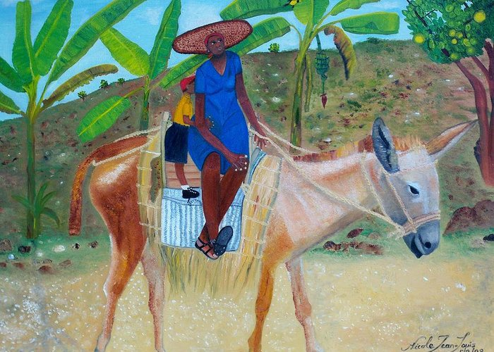 Nicole Jean-louis Greeting Card featuring the painting Ride To School On Donkey Back by Nicole Jean-Louis