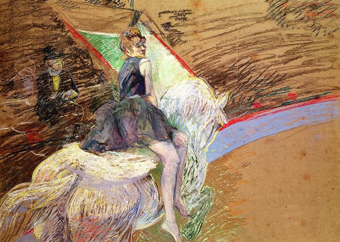 The Greeting Card featuring the pastel Rider On A White Horse by Henri de Toulouse Lautrec