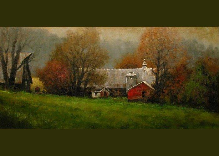 Farm Greeting Card featuring the painting Ridgefield Farm by Jim Gola