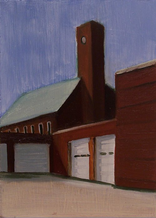 Suburbanscape Greeting Card featuring the painting Ridgefield Park Dpw by Ron Erickson
