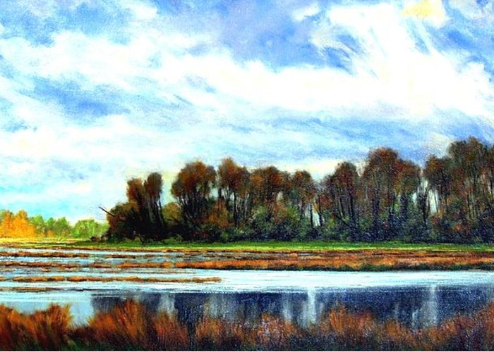 Landscapes Greeting Card featuring the painting Ridgefield Refuge Early Fall by Jim Gola