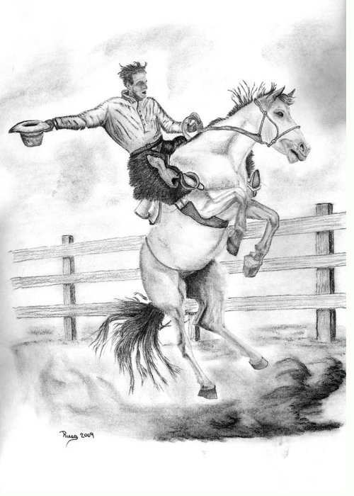 Cowboy Greeting Card featuring the drawing Riding A Flying Horse by Russ Smith