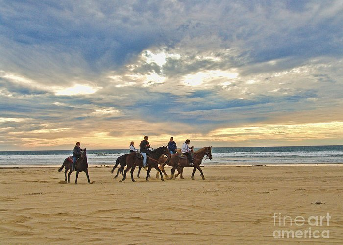 Seascape Greeting Card featuring the photograph Riding At The Beach by Jim Sweida