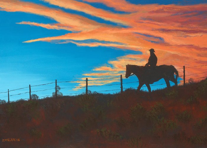 Cowboy Greeting Card featuring the painting Riding Fence by Jerry McElroy