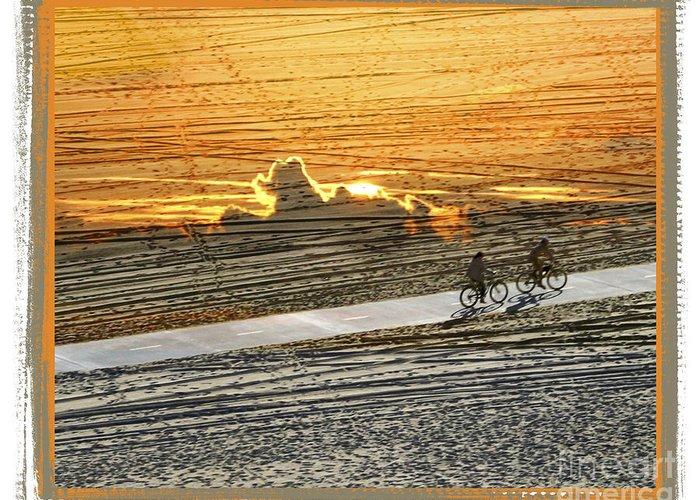 Beach Greeting Card featuring the digital art Riding Off Into The Sunset by Chuck Brittenham