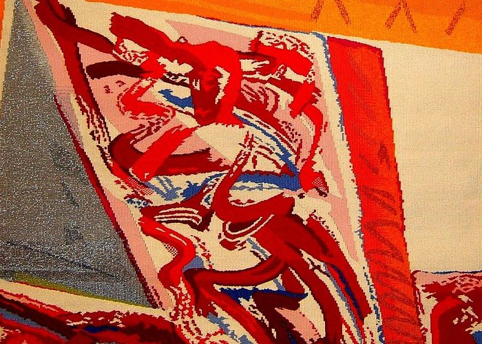 Abstract Greeting Card featuring the tapestry - textile Riding The D Train by Dick Sauer