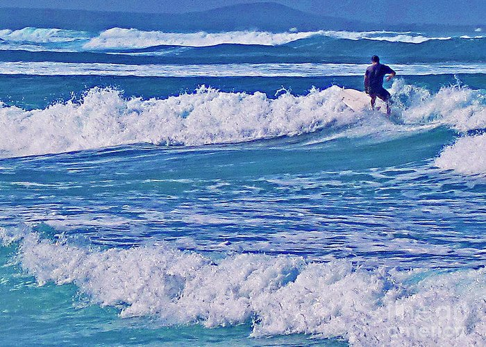 Surfing Greeting Card featuring the photograph Riding The Outside Break by Bette Phelan