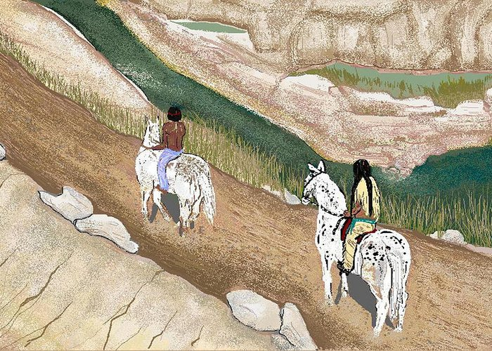 Native American Greeting Card featuring the digital art Riding The Ridge by Carole Boyd