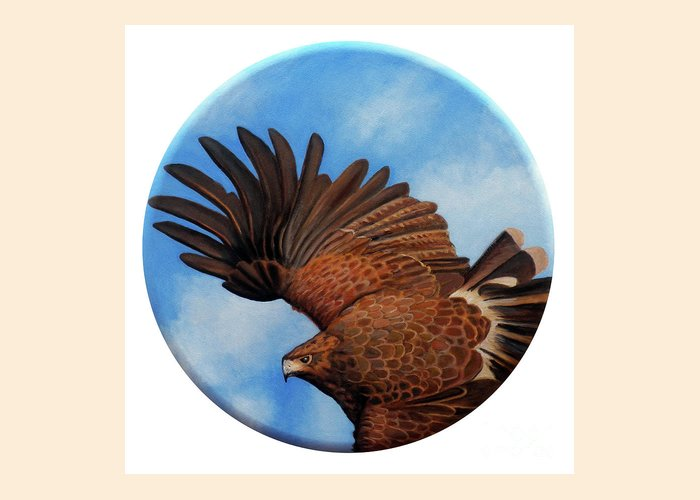 Hawk Greeting Card featuring the painting Riding The Wind by Brian Commerford