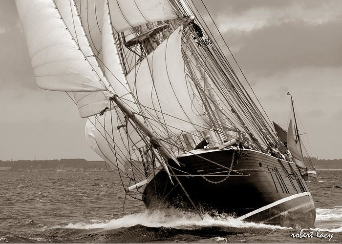 Tall Ship Greeting Card featuring the photograph Riding The Wind -sepia by Robert Lacy