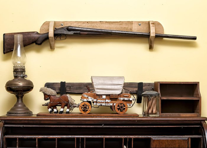 St. Augustine Jail Rifle In Jail Greeting Card featuring the photograph Rifle by Linda Constant