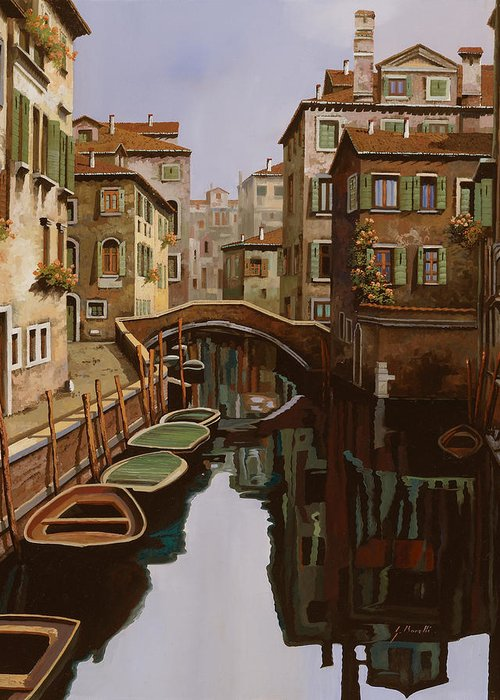 Venice Greeting Card featuring the painting Riflesso Scuro by Guido Borelli