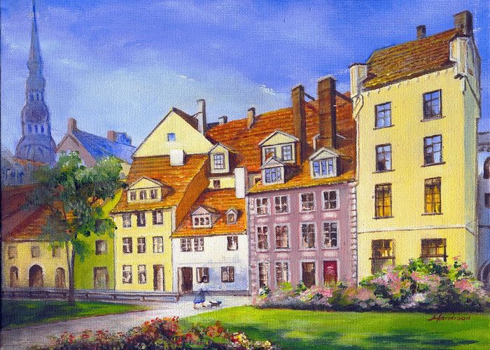 City Scape Greeting Card featuring the painting Riga Latvia by Robynne Hardison