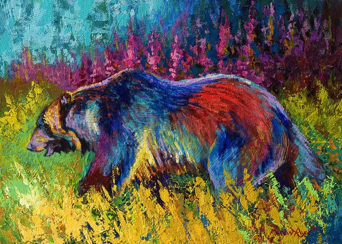 Western Greeting Card featuring the painting Right Of Way - Grizzly Bear by Marion Rose