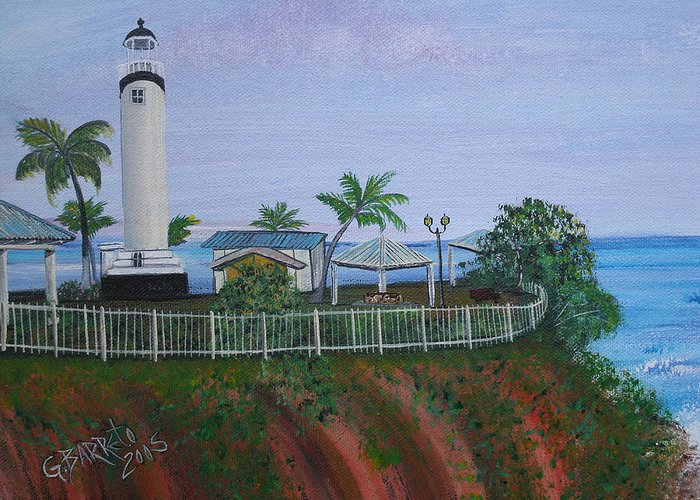 Lighthouse In Rincon By The Ocean Of The Island Of Puerto Rico Greeting Card featuring the painting Rincon's Lighthouse by Gloria E Barreto-Rodriguez