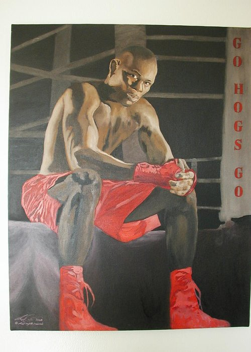 Portrait Greeting Card featuring the painting Ringside With Jermain by Angelo Thomas